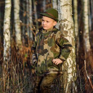 kurtka Parka kapelusz wełniany filcowy myśliwski dla dzieci WADERA