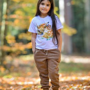 koszulka bambi spodnie dresy brązowe WADERA dla dzieci