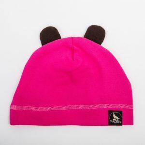Piękna bawełniana czapeczka w kolorze różowym. Czapka z uszkami dla dziewczynki