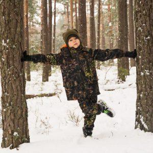 Kurtka kamuflażowa wodoodporna piękna leśna dla dziecka dziecięca nieprzemakalna