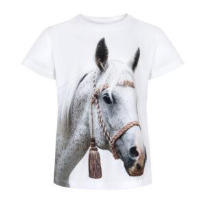 Biały konik ze złotym sznurem, piękny biały koń, Koszulka z konikiem, konik z grzywką