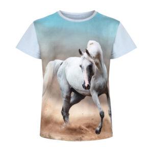 Biały koń tańczący na piasku, koszulka z konikiem, t shirt z koniem
