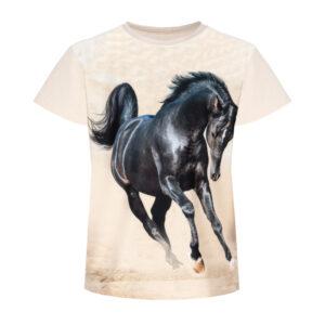 Piękny czarny koń, t-shirt z konikiem. Koszulka z czarnym koniem